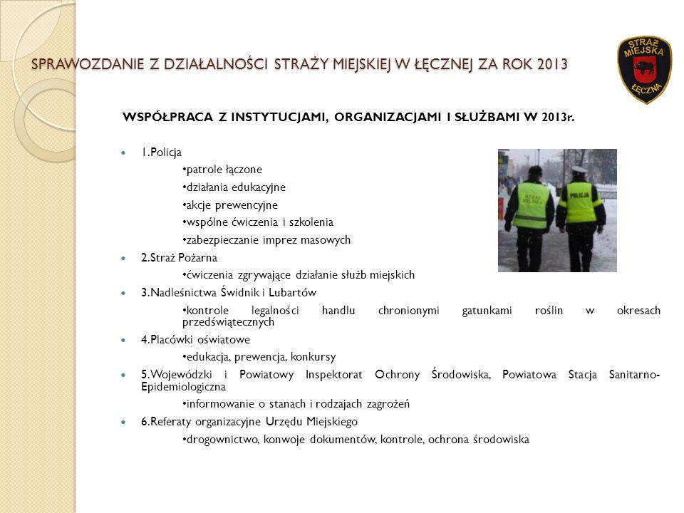SPRAWOZDANIE Z DZIAŁALNOŚCI STRAŻY MIEJSKIEJ W ŁĘCZNEJ ZA ROK 2013 WSPÓŁPRACA Z INSTYTUCJAMI, ORGANIZACJAMI I SŁUŻBAMI W 2013r. 1.Policja patrole łącz