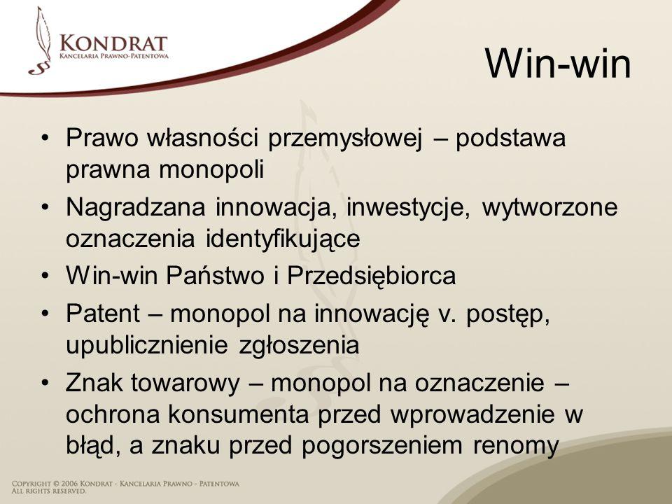 Win-win Prawo własności przemysłowej – podstawa prawna monopoli Nagradzana innowacja, inwestycje, wytworzone oznaczenia identyfikujące Win-win Państwo i Przedsiębiorca Patent – monopol na innowację v.