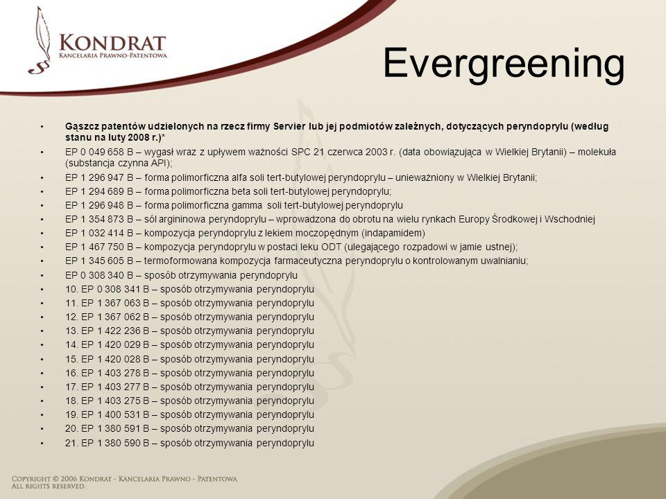 Evergreening Gąszcz patentów udzielonych na rzecz firmy Servier lub jej podmiotów zależnych, dotyczących peryndoprylu (według stanu na luty 2008 r.)* EP 0 049 658 B – wygasł wraz z upływem ważności SPC 21 czerwca 2003 r.