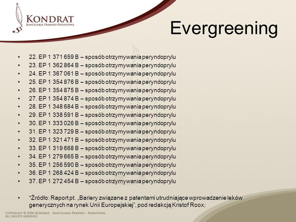 Evergreening 22. EP 1 371 659 B – sposób otrzymywania peryndoprylu 23. EP 1 362 864 B – sposób otrzymywania peryndoprylu 24. EP 1 367 061 B – sposób o