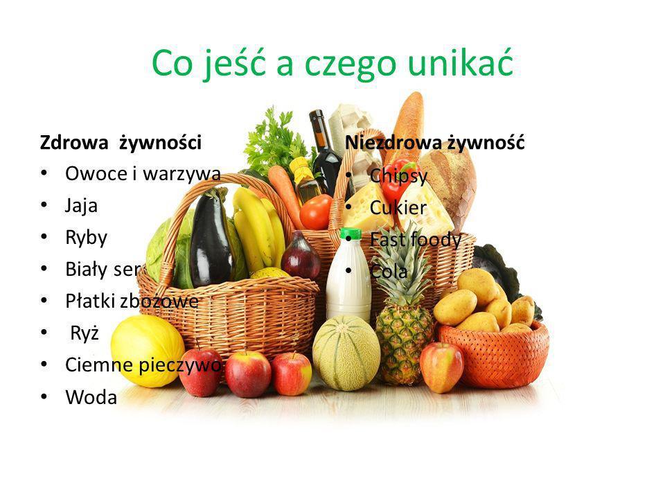Zdrowa żywność Owoce i warzywa-owoc i warzywa są źródłem ogromnej ilości witamin i minerałów a także łatwo przyswajalnych węglowodanów Jaja- jajko to także istotne w naszej diecie źródło cennych pierwiastków: potasu, siarki, fosforu, wapnia, magnezu, cynku i żelaza Ryby -to doskonałe źródło białka oraz nienasyconych kwasów tłuszczowych takich jak OMEGA 3 Biały ser-jest świetnym źródłem Wapnia i witamin Płatki zbożowe-Są świetnym źródłem węglowodanów i błonnika i przeważnie wszystkie są wzbogacone przez producentów w witaminy i minerały Ryż-Ryż jest nie tylko bardzo pożywny, ale również lekko strawny i dobrze przyswajalny przez organizm ludzki.