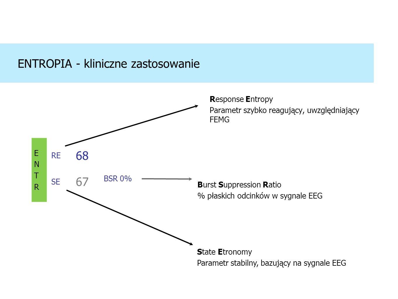 Response Entropy Parametr szybko reagujący, uwzględniający FEMG ENTROPIA - kliniczne zastosowanie ENTRENTR RE SE 68 67 BSR 0% Burst Suppression Ratio % płaskich odcinków w sygnale EEG State Etronomy Parametr stabilny, bazujący na sygnale EEG