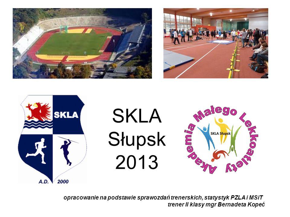 SKLA Słupsk 2013 opracowanie na podstawie sprawozdań trenerskich, statystyk PZLA i MSiT trener II klasy mgr Bernadeta Kopeć