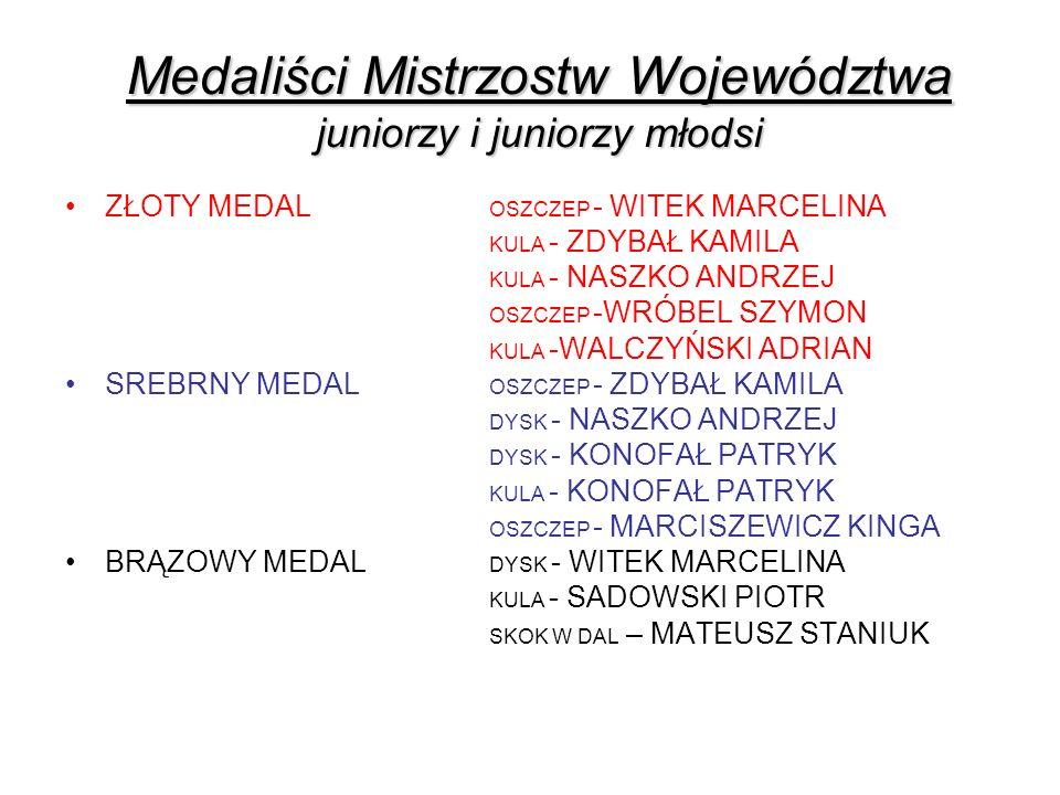Medaliści Mistrzostw Województwa juniorzy i juniorzy młodsi ZŁOTY MEDAL OSZCZEP - WITEK MARCELINA KULA - ZDYBAŁ KAMILA KULA - NASZKO ANDRZEJ OSZCZEP -