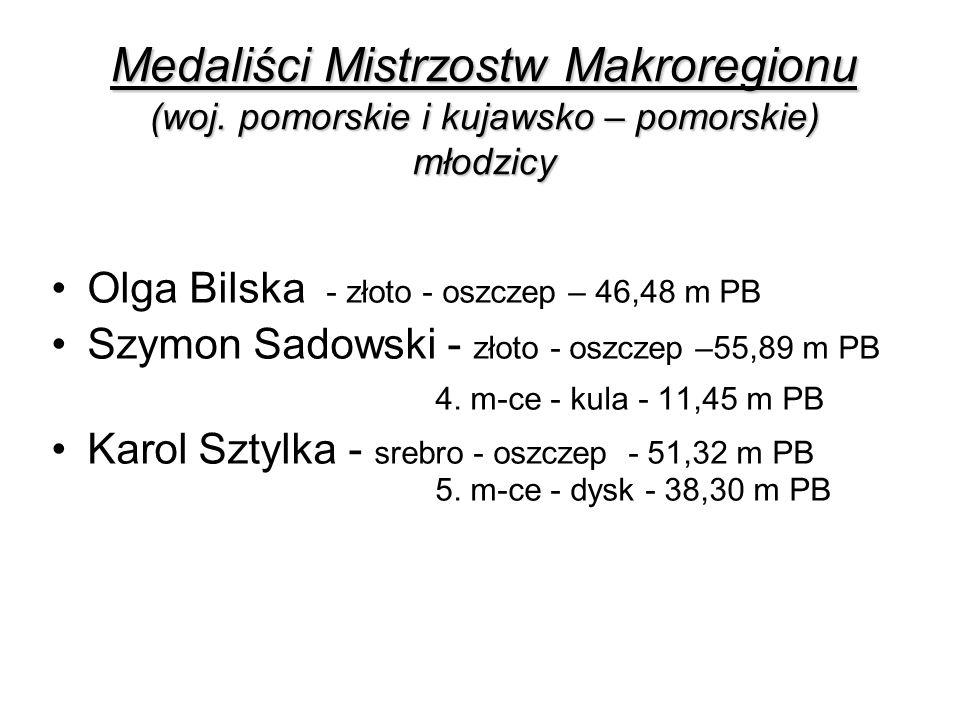 Medaliści Mistrzostw Makroregionu (woj. pomorskie i kujawsko – pomorskie) młodzicy Olga Bilska - złoto - oszczep – 46,48 m PB Szymon Sadowski - złoto