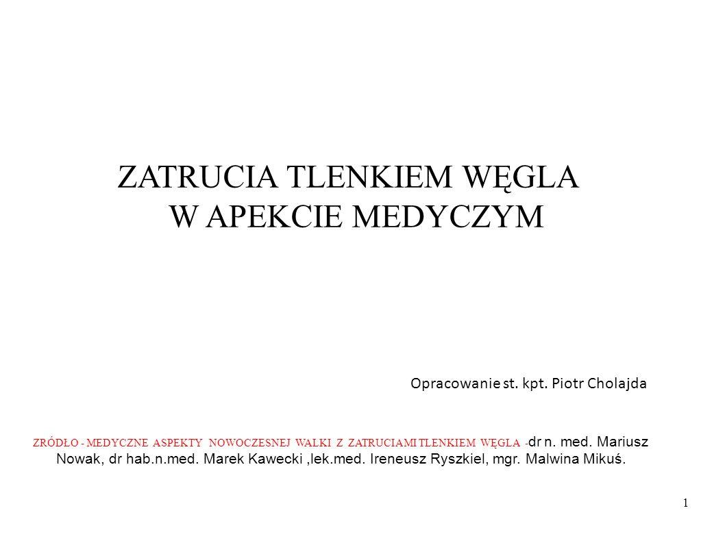 ZRÓDŁO - MEDYCZNE ASPEKTY NOWOCZESNEJ WALKI Z ZATRUCIAMI TLENKIEM WĘGLA - dr n. med. Mariusz Nowak, dr hab.n.med. Marek Kawecki,lek.med. Ireneusz Rysz