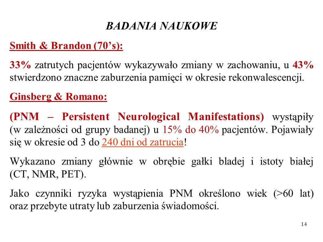 BADANIA NAUKOWE Smith & Brandon (70s): 33% zatrutych pacjentów wykazywało zmiany w zachowaniu, u 43% stwierdzono znaczne zaburzenia pamięci w okresie