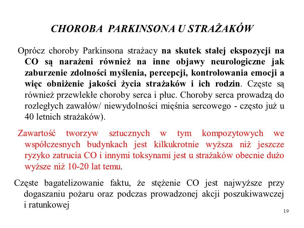 CHOROBA PARKINSONA U STRAŻAKÓW Oprócz choroby Parkinsona strażacy na skutek stałej ekspozycji na CO są narażeni również na inne objawy neurologiczne j