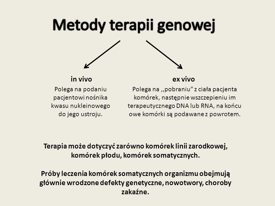 in vivo Terapia może dotyczyć zarówno komórek linii zarodkowej, komórek płodu, komórek somatycznych.