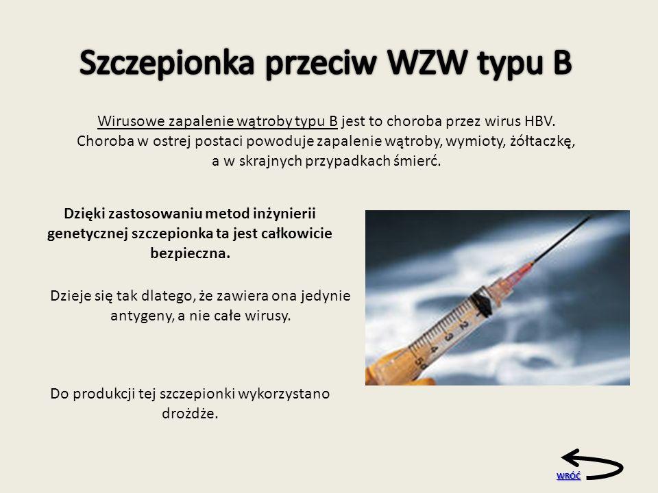 WRÓĆ Dzięki zastosowaniu metod inżynierii genetycznej szczepionka ta jest całkowicie bezpieczna.