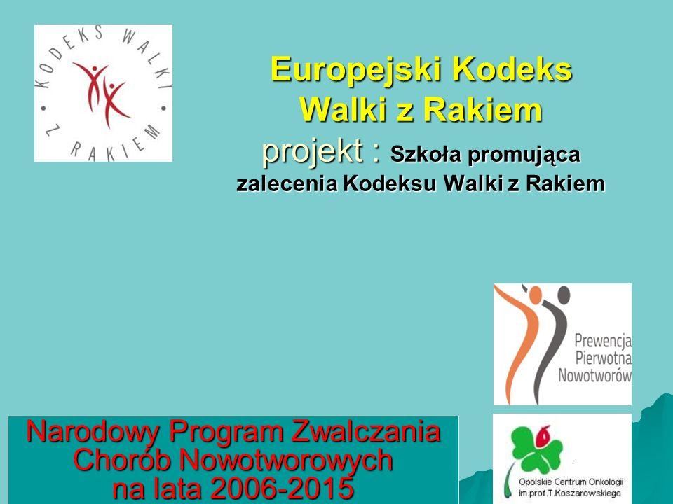 Europejski Kodeks Walki z Rakiem projekt : Szkoła promująca zalecenia Kodeksu Walki z Rakiem Narodowy Program Zwalczania Chorób Nowotworowych na lata