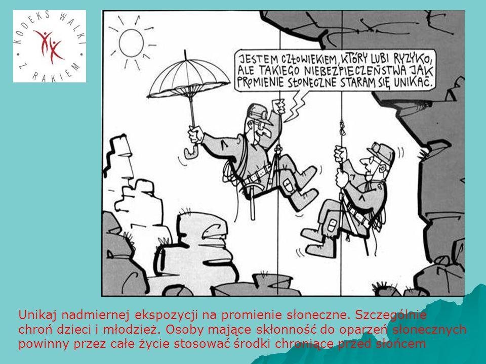Unikaj nadmiernej ekspozycji na promienie słoneczne. Szczególnie chroń dzieci i młodzież. Osoby mające skłonność do oparzeń słonecznych powinny przez