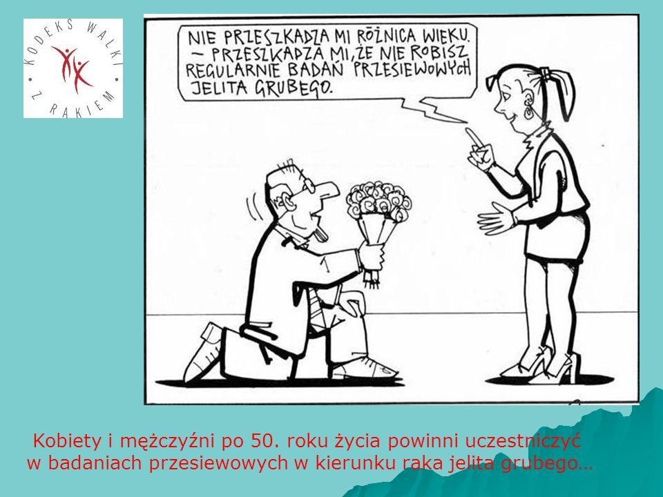 Kobiety i mężczyźni po 50. roku życia powinni uczestniczyć w badaniach przesiewowych w kierunku raka jelita grubego…