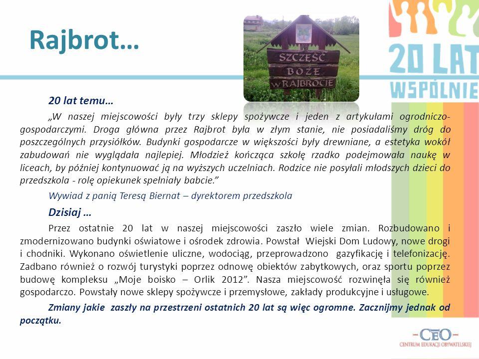 20 lat temu… W naszej miejscowości były trzy sklepy spożywcze i jeden z artykułami ogrodniczo- gospodarczymi. Droga główna przez Rajbrot była w złym s