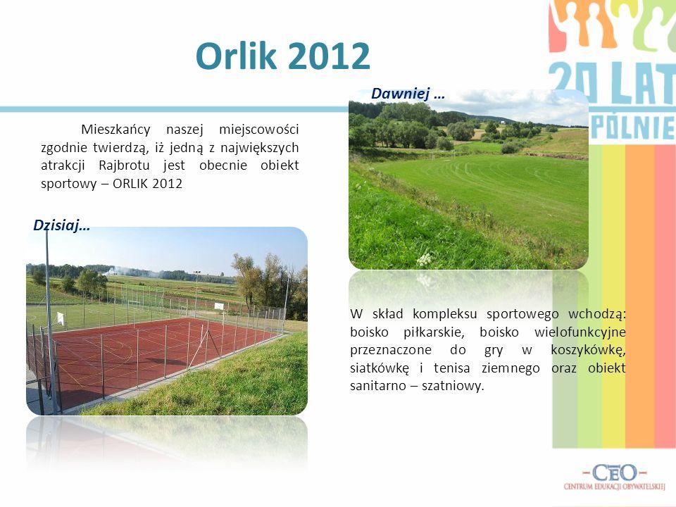 Mieszkańcy naszej miejscowości zgodnie twierdzą, iż jedną z największych atrakcji Rajbrotu jest obecnie obiekt sportowy – ORLIK 2012 Orlik 2012 Dawnie