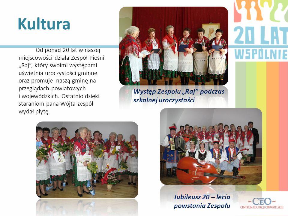 Kultura Występ Zespołu Raj podczas szkolnej uroczystości Od ponad 20 lat w naszej miejscowości działa Zespół Pieśni Raj, który swoimi występami uświet