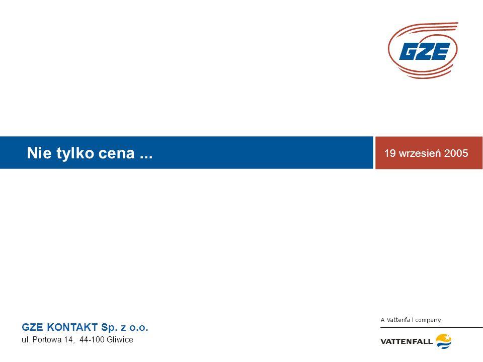 GZE KONTAKT Sp. z o.o. ul. Portowa 14, 44-100 Gliwice Nie tylko cena... 19 wrzesień 2005