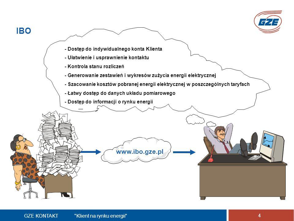 GZE KONTAKT Klient na rynku energii 4 IBO www.ibo.gze.pl - Dostęp do indywidualnego konta Klienta - Ułatwienie i usprawnienie kontaktu - Kontrola stanu rozliczeń - Generowanie zestawień i wykresów zużycia energii elektrycznej - Szacowanie kosztów pobranej energii elektrycznej w poszczególnych taryfach - Łatwy dostęp do danych układu pomiarowego - Dostęp do informacji o rynku energii