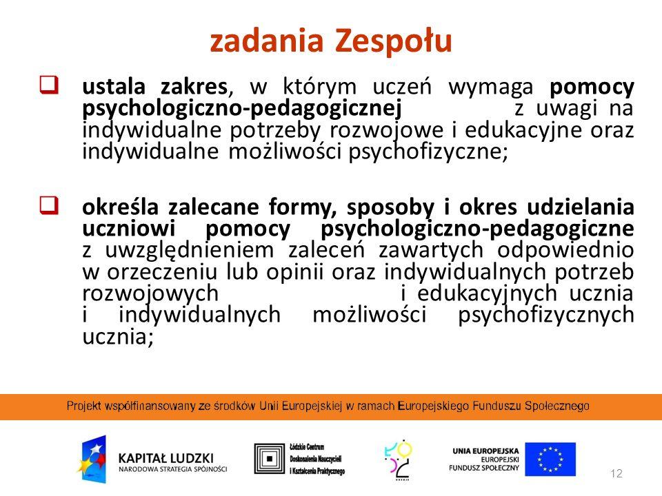12 ustala zakres, w którym uczeń wymaga pomocy psychologiczno-pedagogicznej z uwagi na indywidualne potrzeby rozwojowe i edukacyjne oraz indywidualne