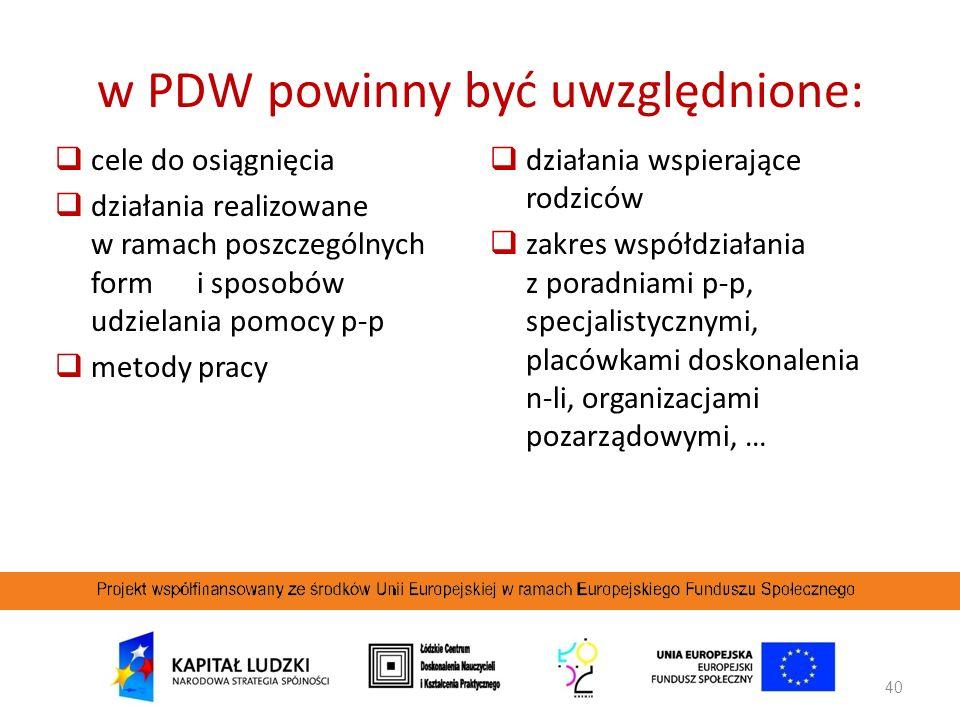 w PDW powinny być uwzględnione: cele do osiągnięcia działania realizowane w ramach poszczególnych form i sposobów udzielania pomocy p-p metody pracy d
