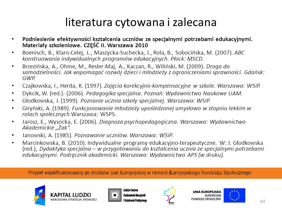44 Podniesienie efektywności kształcenia uczniów ze specjalnymi potrzebami edukacyjnymi. Materiały szkoleniowe. CZĘŚĆ II. Warszawa 2010 Boenisch, B.,