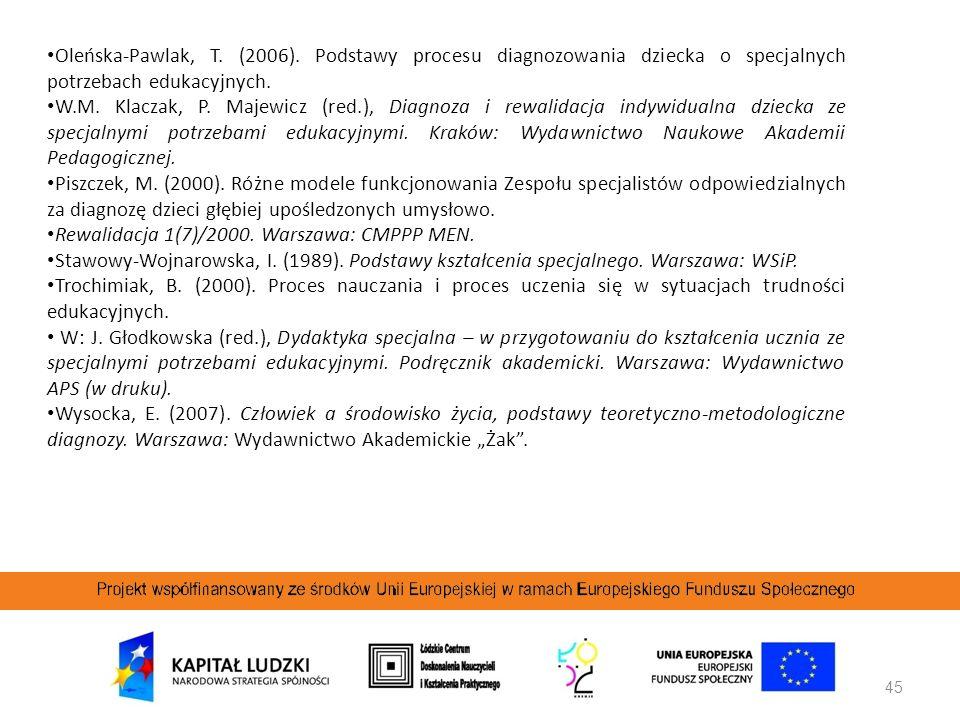 45 Oleńska-Pawlak, T. (2006). Podstawy procesu diagnozowania dziecka o specjalnych potrzebach edukacyjnych. W.M. Klaczak, P. Majewicz (red.), Diagnoza