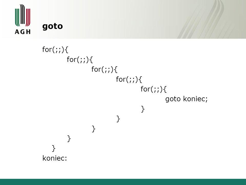 goto for(;;){ goto koniec; } koniec:
