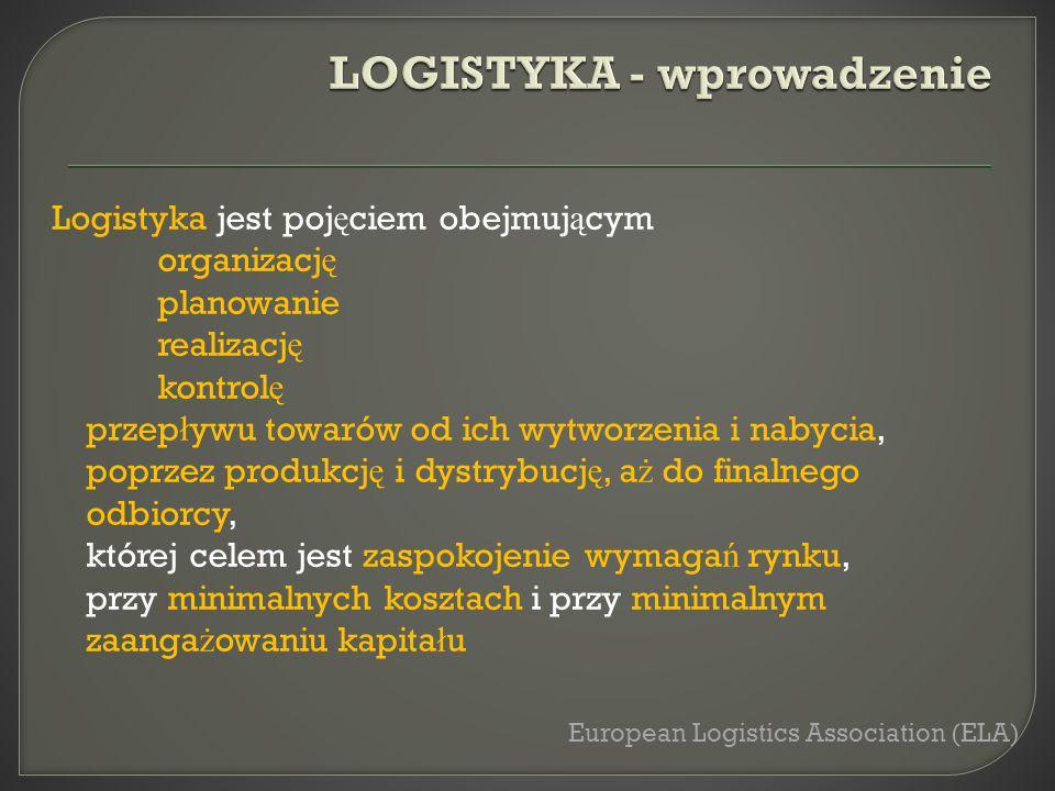 Logistyka jest poj ę ciem obejmuj ą cym organizacj ę planowanie realizacj ę kontrol ę przep ł ywu towarów od ich wytworzenia i nabycia, poprzez produk