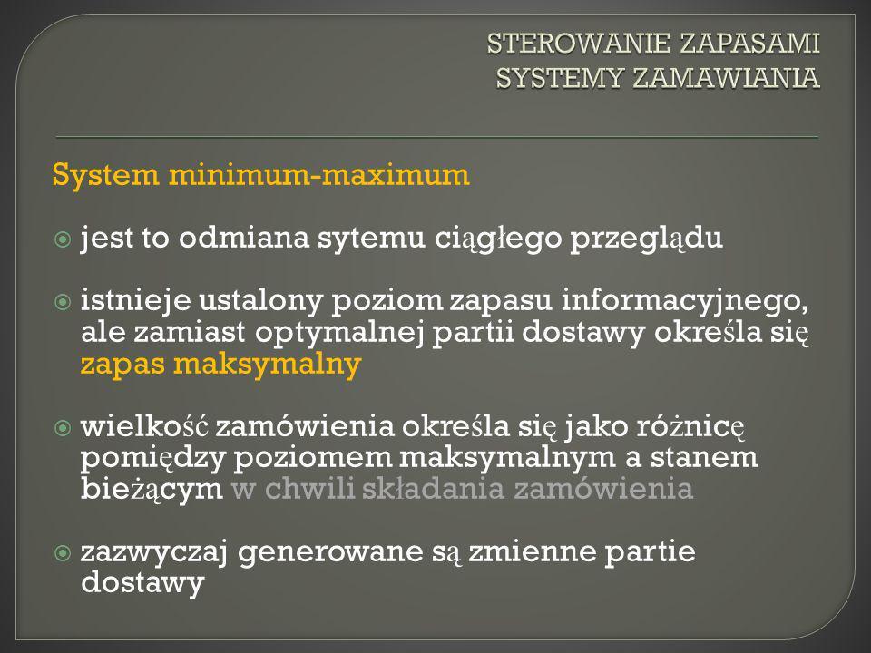 System minimum-maximum jest to odmiana sytemu ci ą g ł ego przegl ą du istnieje ustalony poziom zapasu informacyjnego, ale zamiast optymalnej partii d