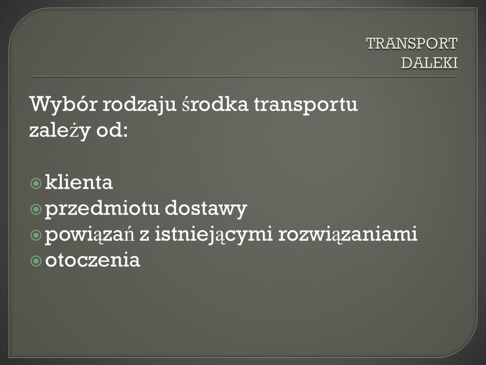 Wybór rodzaju ś rodka transportu zale ż y od: klienta przedmiotu dostawy powi ą za ń z istniej ą cymi rozwi ą zaniami otoczenia