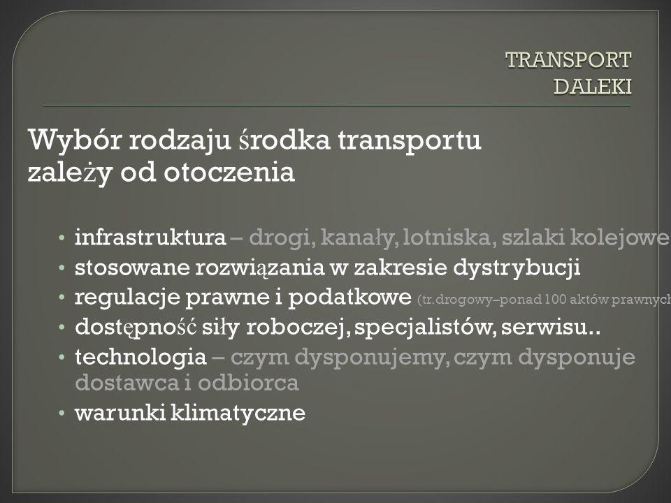 Wybór rodzaju ś rodka transportu zale ż y od otoczenia infrastruktura – drogi, kana ł y, lotniska, szlaki kolejowe stosowane rozwi ą zania w zakresie