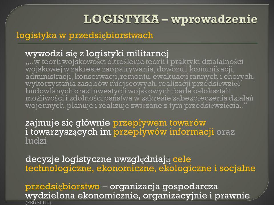 logistyka w przedsi ę biorstwach wywodzi si ę z logistyki militarnej..w teorii wojskowo ś ci okre ś lenie teorii i praktyki dzia ł alno ś ci wojskowej