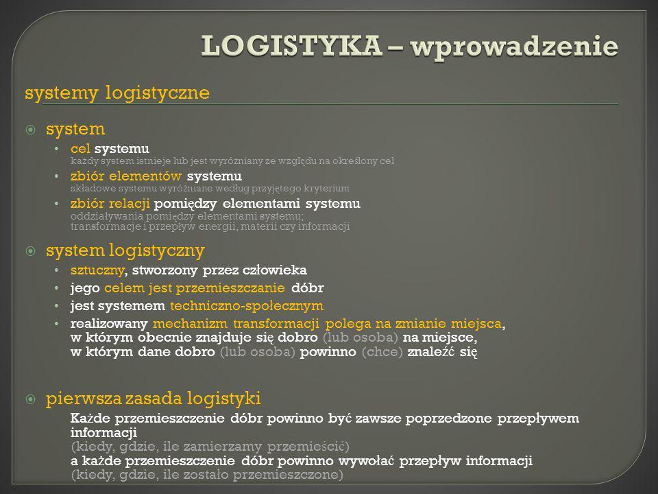 systemy logistyczne system cel systemu ka ż dy system istnieje lub jest wyró ż niany ze wzgl ę du na okre ś lony cel zbiór elementów systemu sk ł adow
