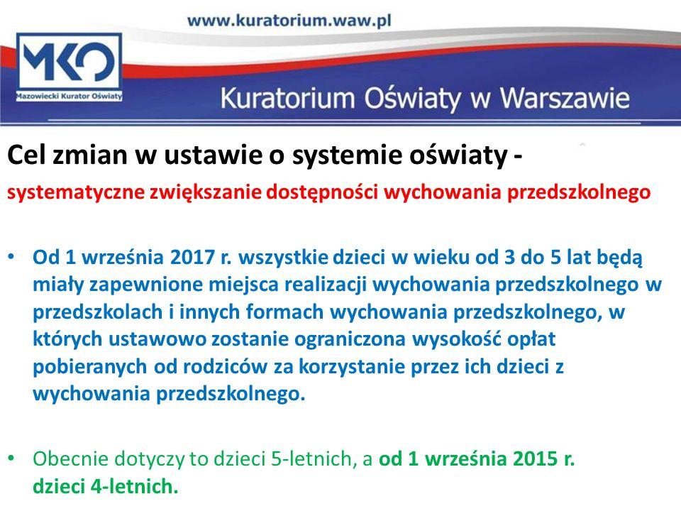 Cel zmian w ustawie o systemie oświaty - systematyczne zwiększanie dostępności wychowania przedszkolnego Od 1 września 2017 r. wszystkie dzieci w wiek