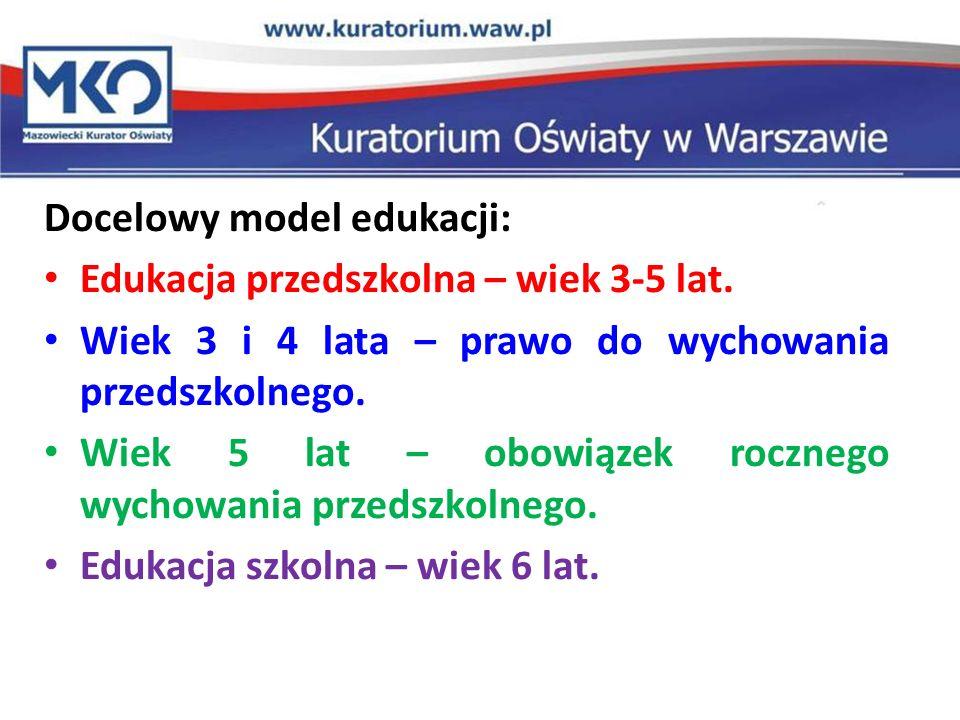 Docelowy model edukacji: Edukacja przedszkolna – wiek 3-5 lat. Wiek 3 i 4 lata – prawo do wychowania przedszkolnego. Wiek 5 lat – obowiązek rocznego w