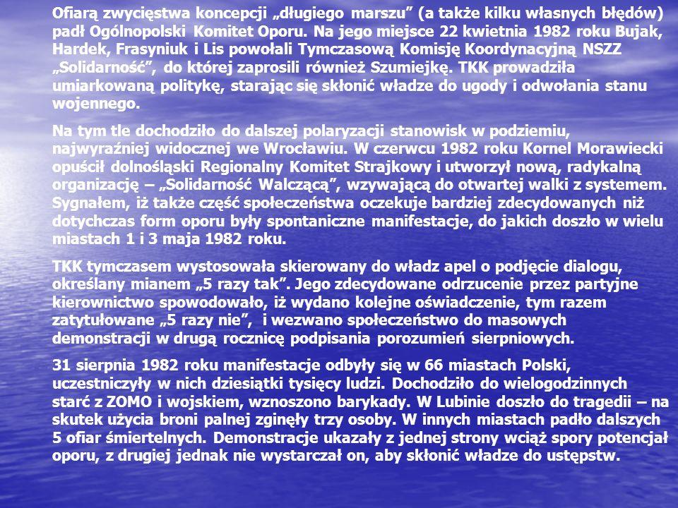 Ofiarą zwycięstwa koncepcji długiego marszu (a także kilku własnych błędów) padł Ogólnopolski Komitet Oporu. Na jego miejsce 22 kwietnia 1982 roku Buj
