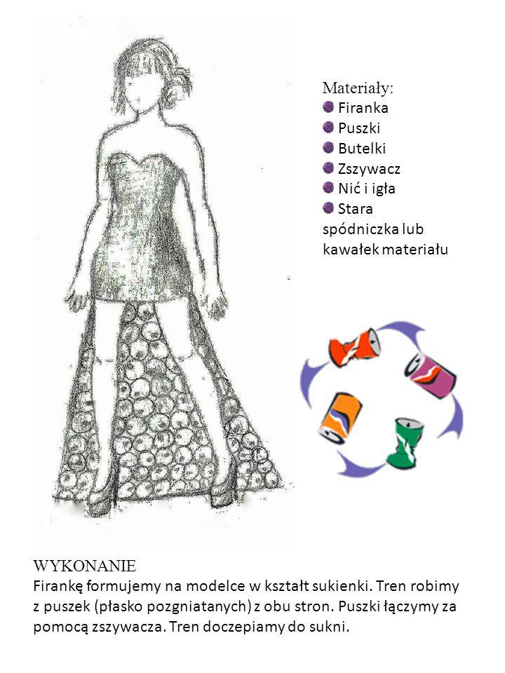 Materiały: Firanka Puszki Butelki Zszywacz Nić i igła Stara spódniczka lub kawałek materiału WYKONANIE Firankę formujemy na modelce w kształt sukienki
