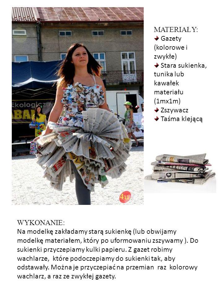 WYKONANIE: Na modelkę zakładamy starą sukienkę (lub obwijamy modelkę materiałem, który po uformowaniu zszywamy ). Do sukienki przyczepiamy kulki papie