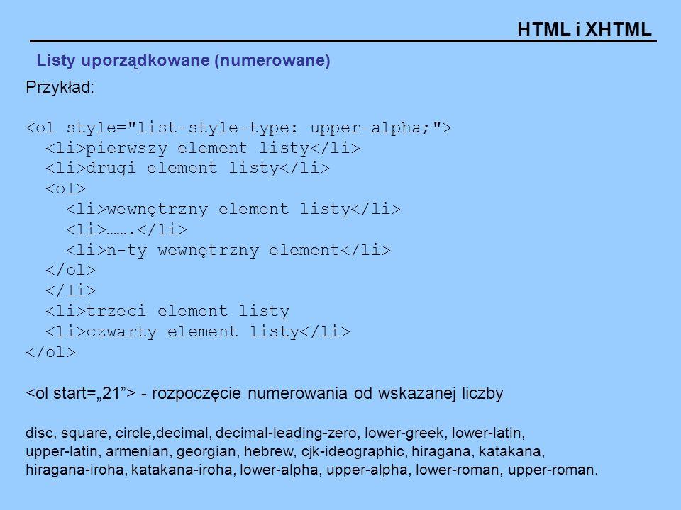 HTML i XHTML Listy uporządkowane (numerowane) Przykład: pierwszy element listy drugi element listy wewnętrzny element listy ……. n-ty wewnętrzny elemen