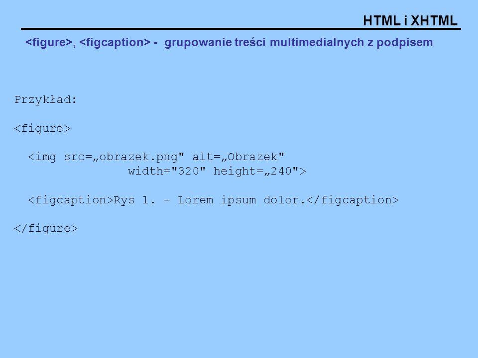 HTML i XHTML, - grupowanie treści multimedialnych z podpisem Przykład: Rys 1. – Lorem ipsum dolor.