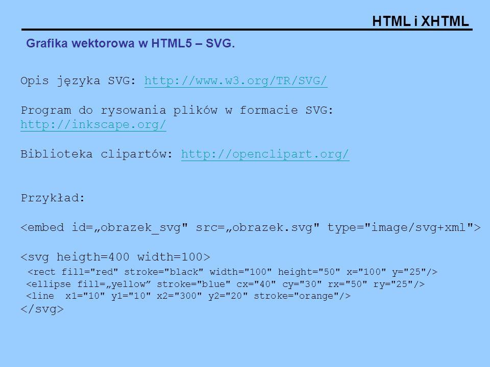 HTML i XHTML Grafika wektorowa w HTML5 – SVG. Opis języka SVG: http://www.w3.org/TR/SVG/http://www.w3.org/TR/SVG/ Program do rysowania plików w formac