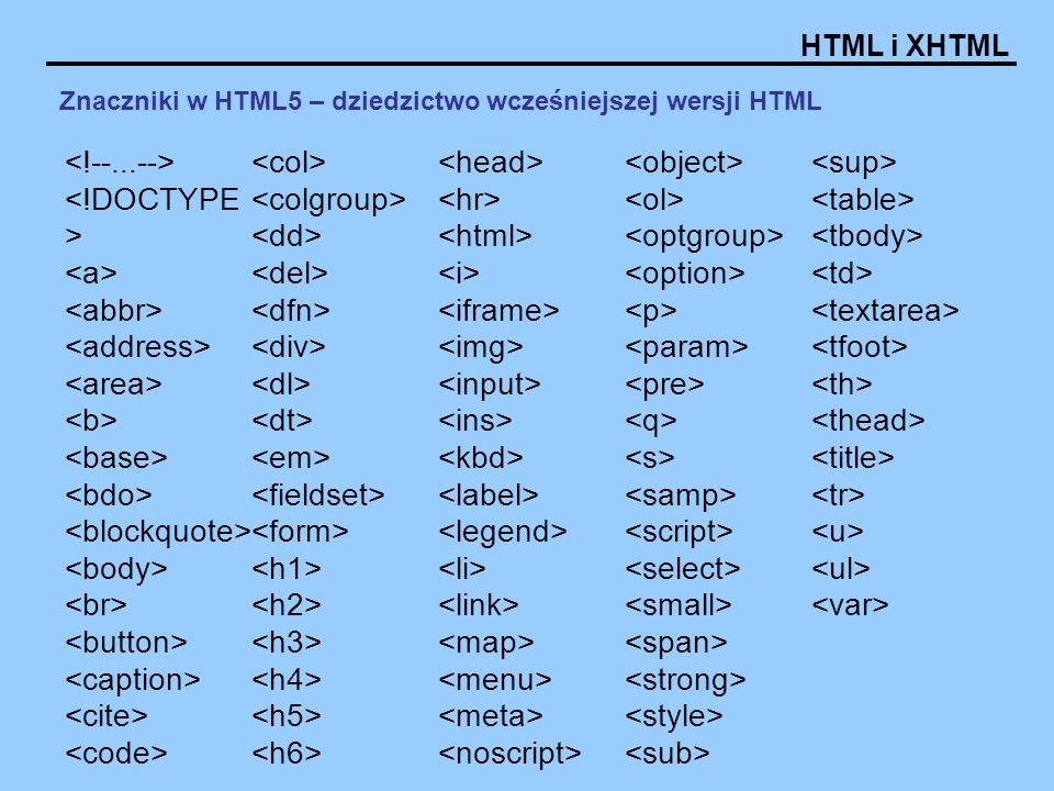 HTML i XHTML Znaczniki w HTML5 – dziedzictwo wcześniejszej wersji HTML