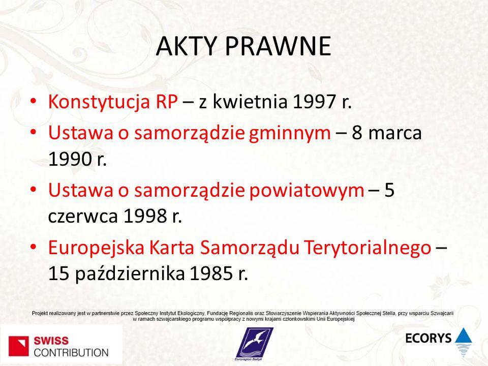 AKTY PRAWNE Konstytucja RP – z kwietnia 1997 r. Ustawa o samorządzie gminnym – 8 marca 1990 r. Ustawa o samorządzie powiatowym – 5 czerwca 1998 r. Eur