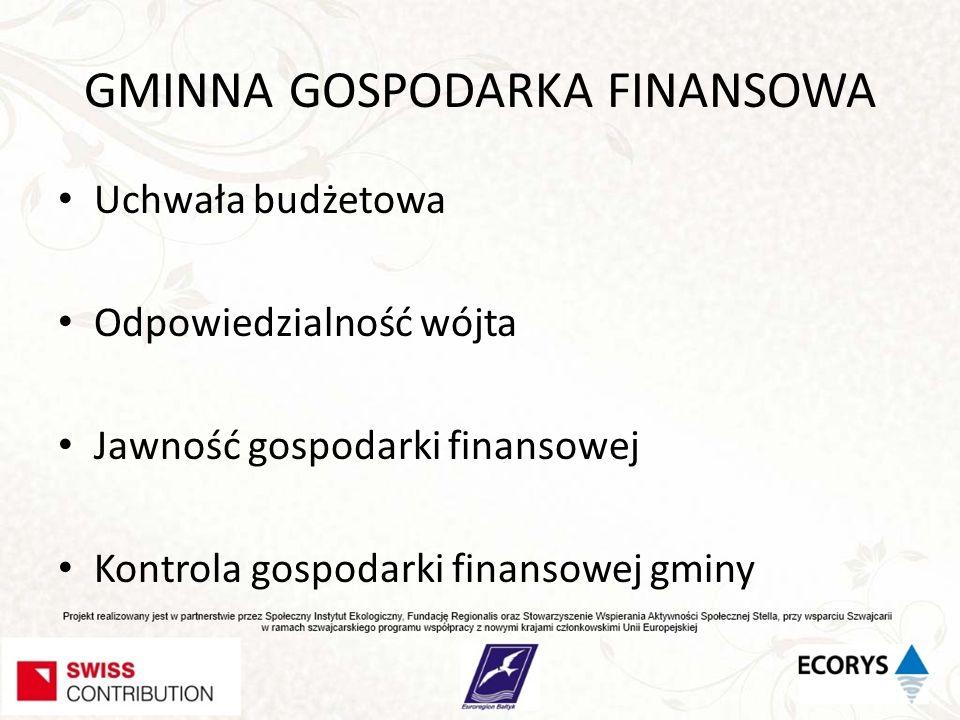 GMINNA GOSPODARKA FINANSOWA Uchwała budżetowa Odpowiedzialność wójta Jawność gospodarki finansowej Kontrola gospodarki finansowej gminy