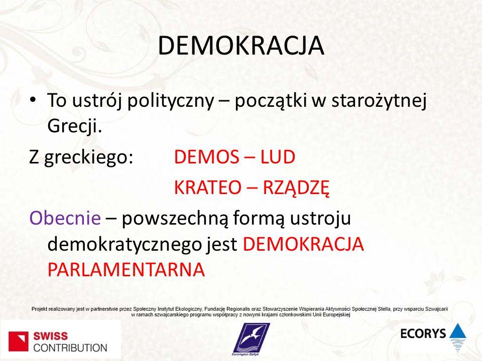 DEMOKRACJA To ustrój polityczny – początki w starożytnej Grecji. Z greckiego: DEMOS – LUD KRATEO – RZĄDZĘ Obecnie – powszechną formą ustroju demokraty