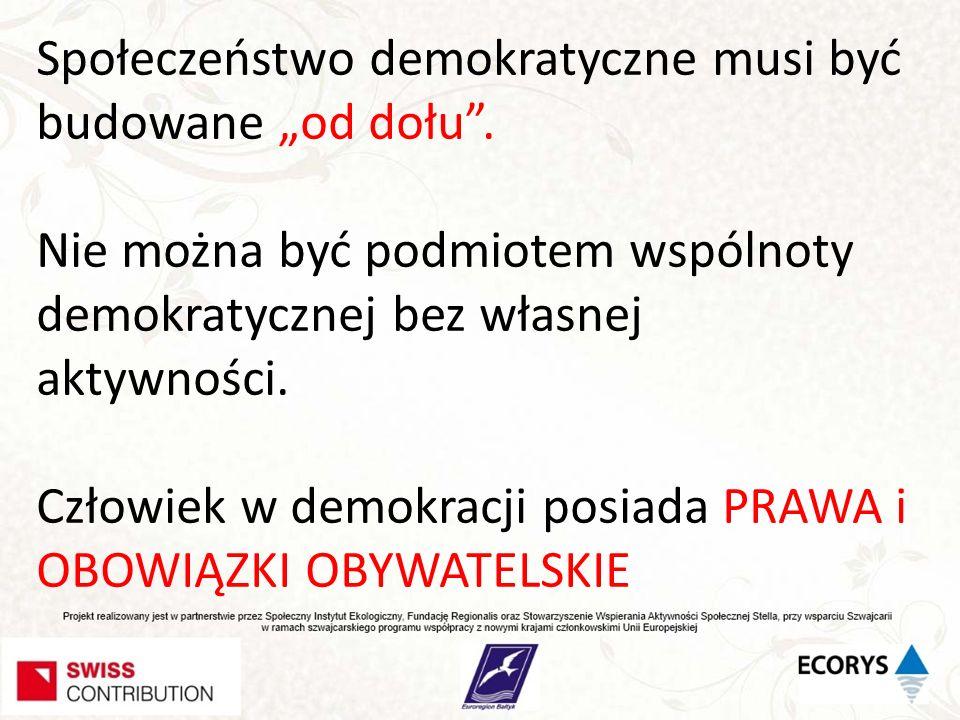 Społeczeństwo demokratyczne musi być budowane od dołu. Nie można być podmiotem wspólnoty demokratycznej bez własnej aktywności. Człowiek w demokracji