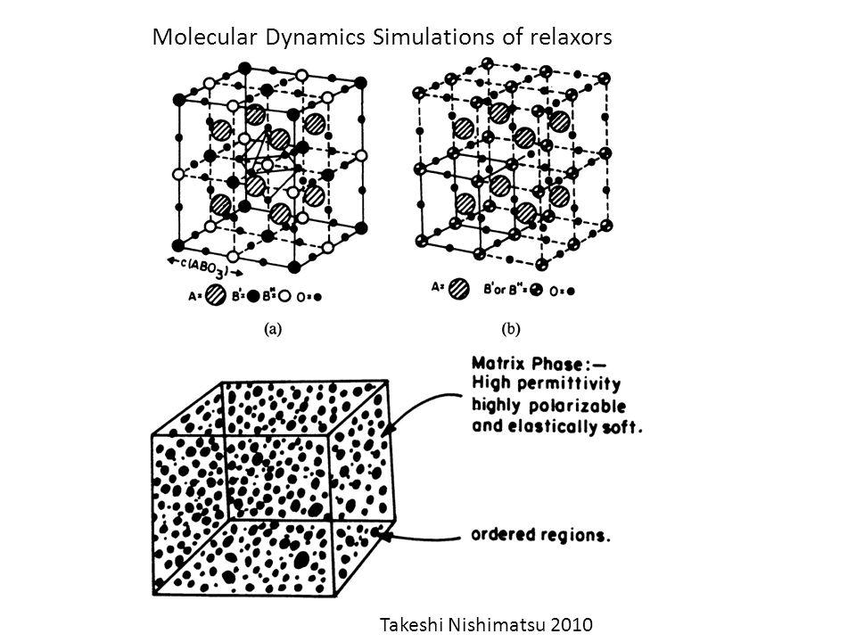 Molecular Dynamics Simulations of relaxors Takeshi Nishimatsu 2010