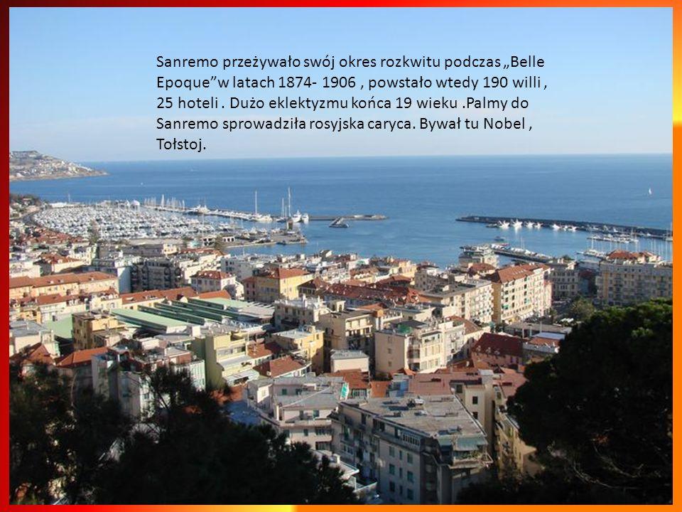 Sanremo dobrze się kojarzy, zawsze czymś zaskoczy.Jest tu wszystko, góry w tle, schodzące w stronę morza wzgórza,piękne zabytki, egzotyczna roślinność