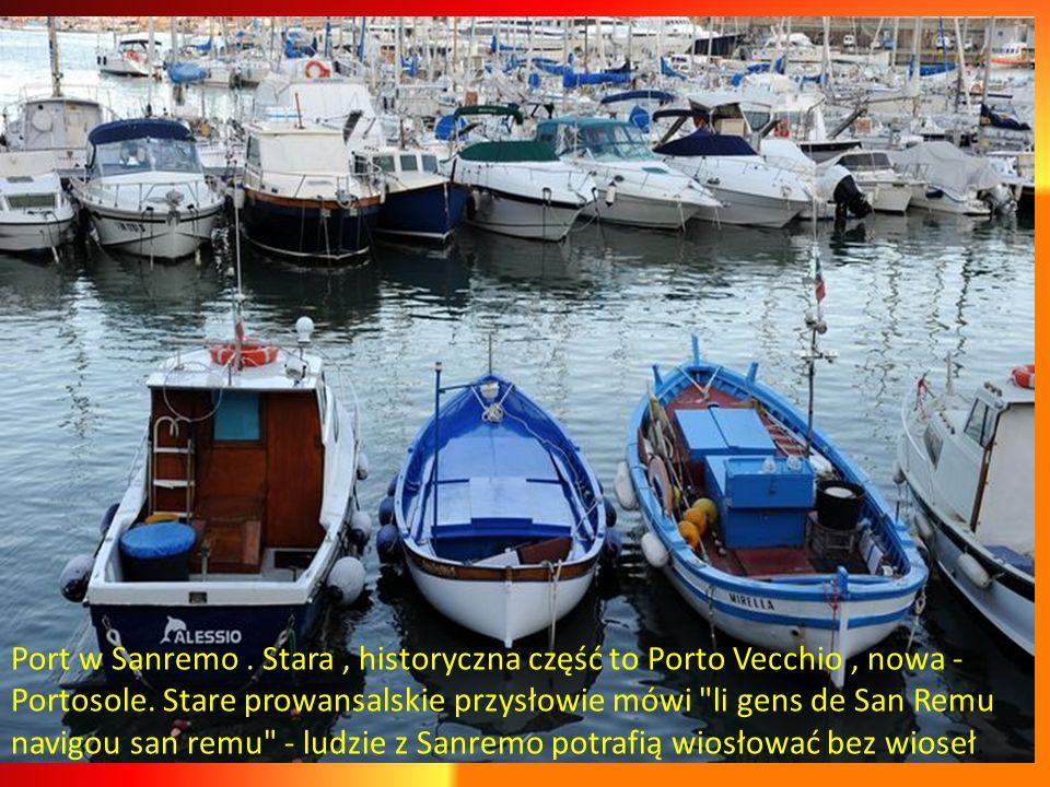 Sanremo przeżywało swój okres rozkwitu podczas Belle Epoquew latach 1874- 1906, powstało wtedy 190 willi, 25 hoteli. Dużo eklektyzmu końca 19 wieku.Pa