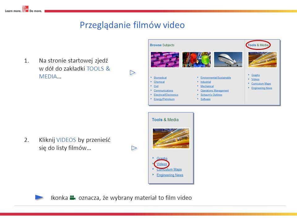 Przeglądanie filmów video 1.Na stronie startowej zjedź w dół do zakładki TOOLS & MEDIA… 2.Kliknij VIDEOS by przenieść się do listy filmów… Ikonka oznacza, że wybrany materiał to film video